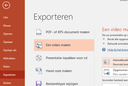 Powerpoint naar video - stap 1